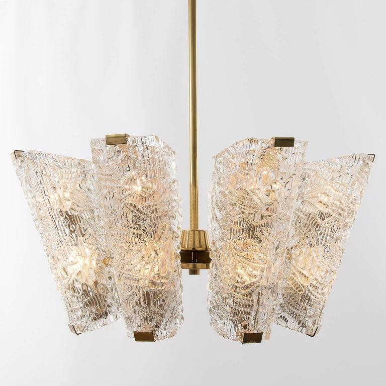 Large Kalmar Chandelier, Brass and Textured Glass, 1950s, 1 of 4 For Sale 2