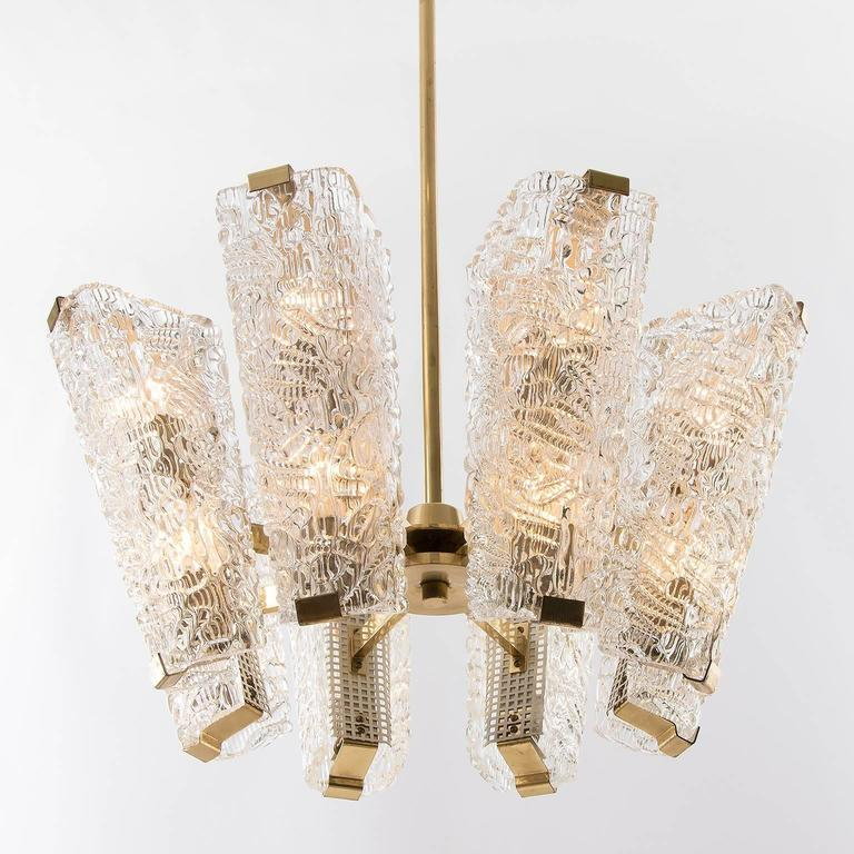 Large Kalmar Chandelier, Brass and Textured Glass, 1950s, 1 of 4 For Sale 3
