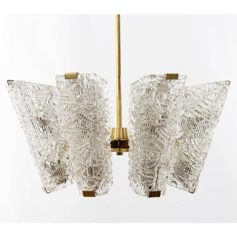 Austrian Large Kalmar Chandelier, Brass and Textured Glass, 1950s, 1 of 4 For Sale
