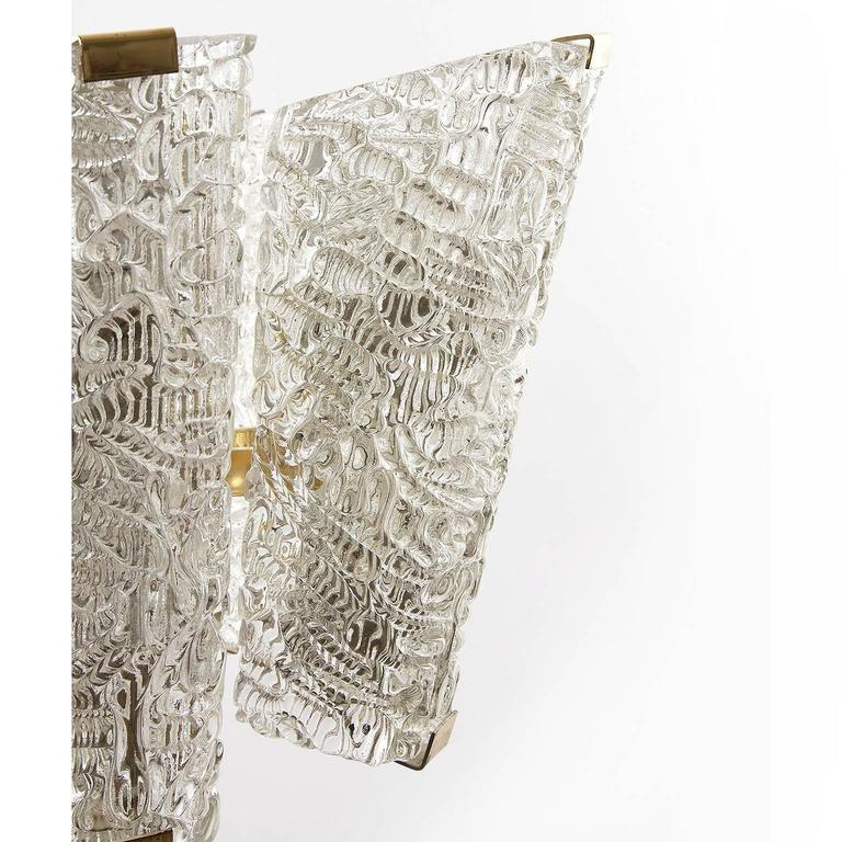 Large Kalmar Chandelier, Brass and Textured Glass, 1950s, 1 of 4 For Sale 4