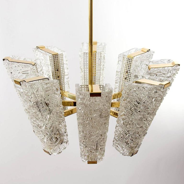 Painted Large Kalmar Chandelier, Brass and Textured Glass, 1950s, 1 of 4 For Sale