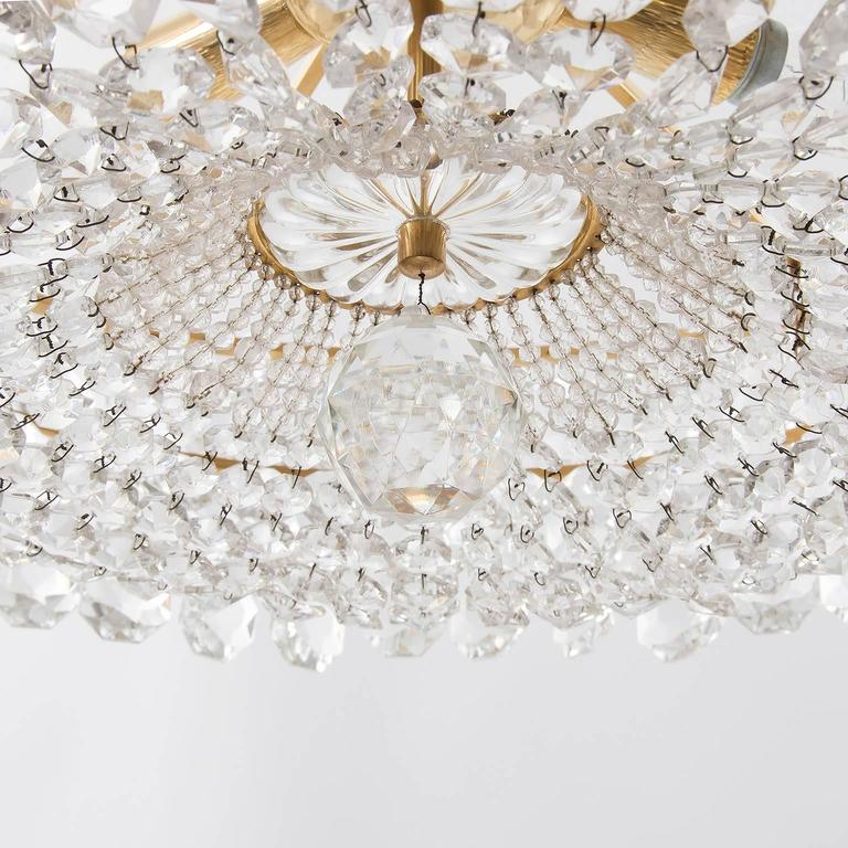 Bakalowits Chandelier, Crystal Glass and Gilt Brass, Austria, 1960s, 1 of 2 For Sale 2
