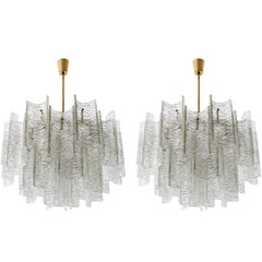 Two Large Kalmar Chandeliers 'Canaletto', Glass Brass, 1960