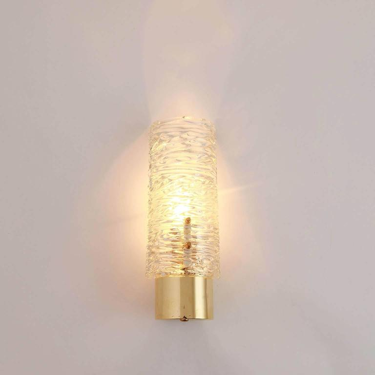 Six Kalmar Brass and Glass Sconces, 1950s For Sale 2