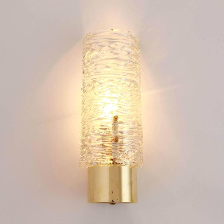 Six Kalmar Brass and Glass Sconces, 1950s In Excellent Condition For Sale In Graz, AT