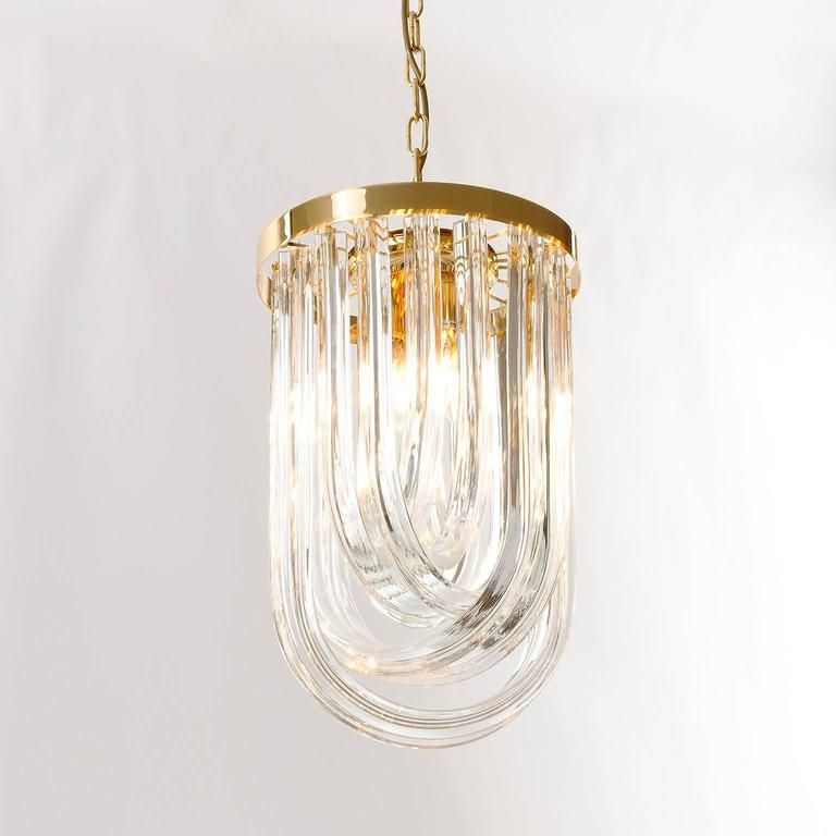 Venini Pendant Light Chandelier, Curved Crystal Glass and Gilt Brass, Italy For Sale 4