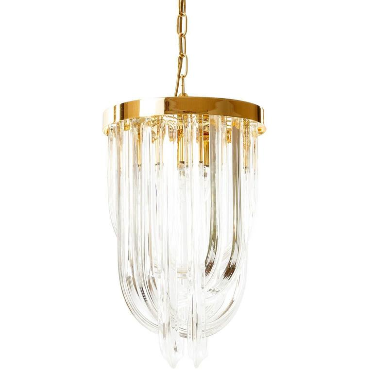 Mid-Century Modern Venini Pendant Light Chandelier, Curved Crystal Glass and Gilt Brass, Italy For Sale