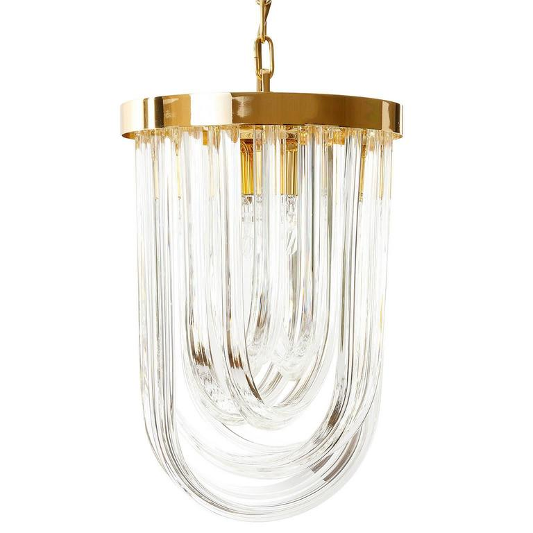 Italian Venini Pendant Light Chandelier, Curved Crystal Glass and Gilt Brass, Italy For Sale