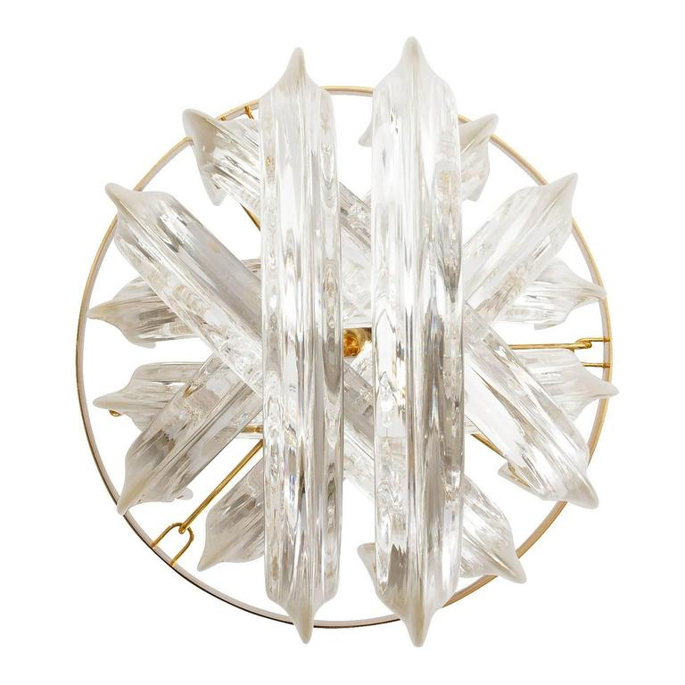 Venini Pendant Light Chandelier, Curved Crystal Glass and Gilt Brass, Italy For Sale 2