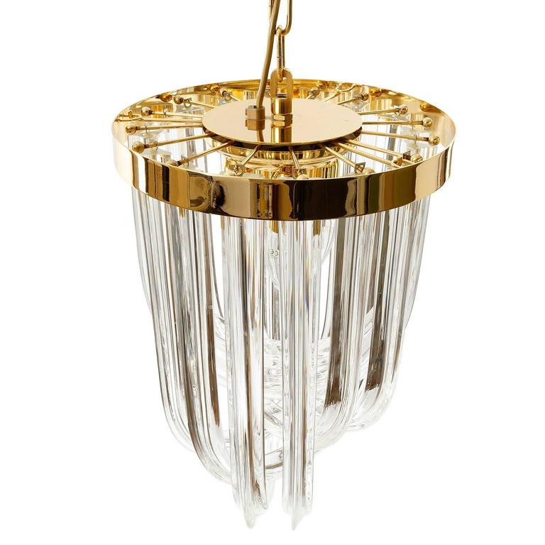 Venini Pendant Light Chandelier, Curved Crystal Glass and Gilt Brass, Italy For Sale 1