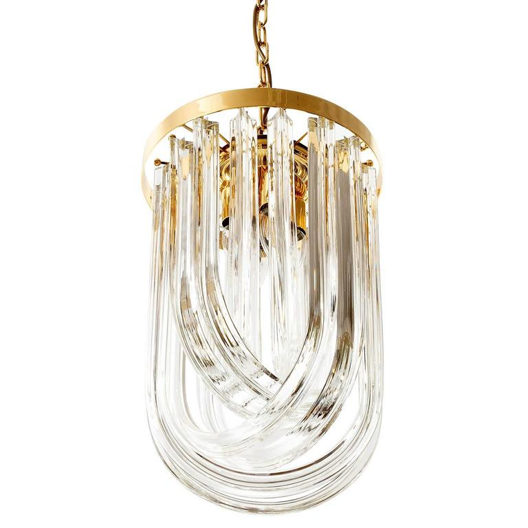 Venini Pendant Light Chandelier, Curved Crystal Glass and Gilt Brass, Italy In Excellent Condition For Sale In Vienna, AT