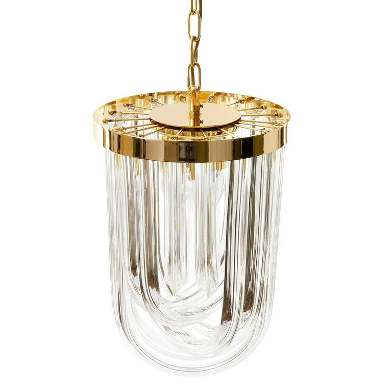 Mid-20th Century Venini Pendant Light Chandelier, Curved Crystal Glass and Gilt Brass, Italy For Sale