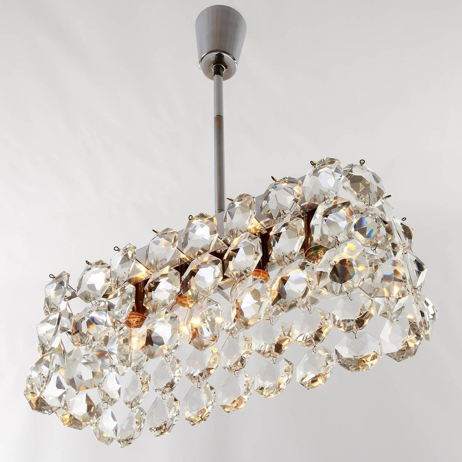 Bakalowits Box Chandelier Nickel Crystal 1960s For Sale