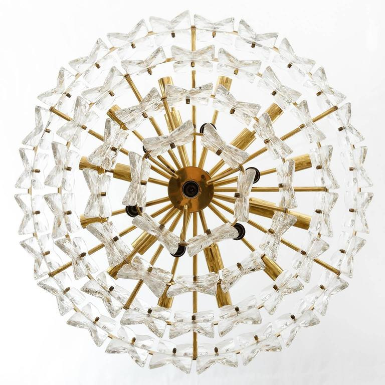 Austrian Large Kalmar Chandelier Pendant Light, Brass and Glass, Corina Model, 1970 For Sale