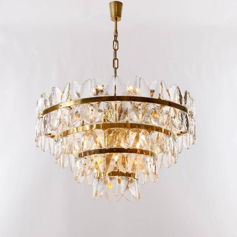 Large Kalmar Chandelier Pendant Light, Brass and Glass, Corina Model, 1970 For Sale 1