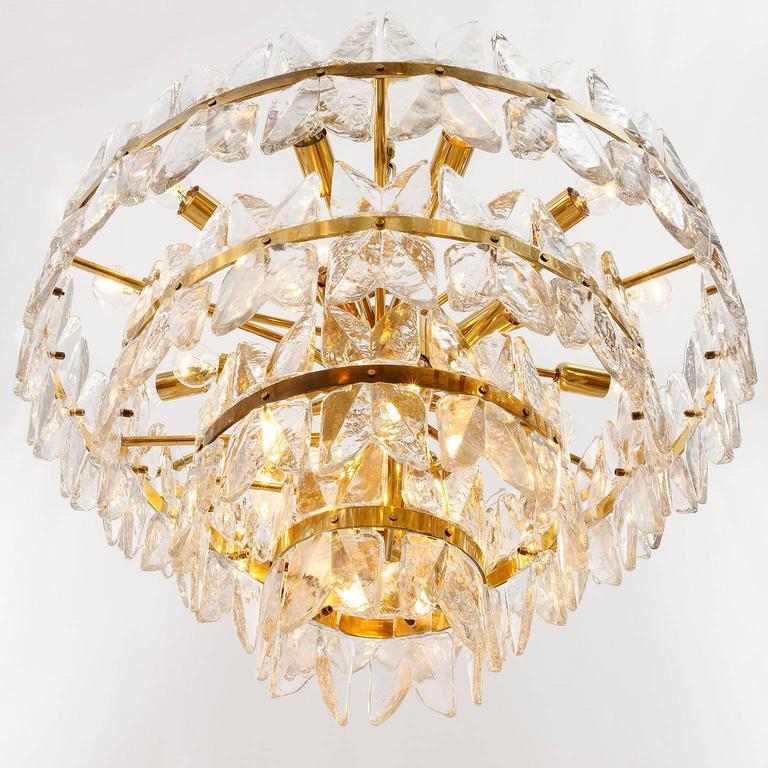 Large Kalmar Chandelier Pendant Light, Brass and Glass, Corina Model, 1970 For Sale 2