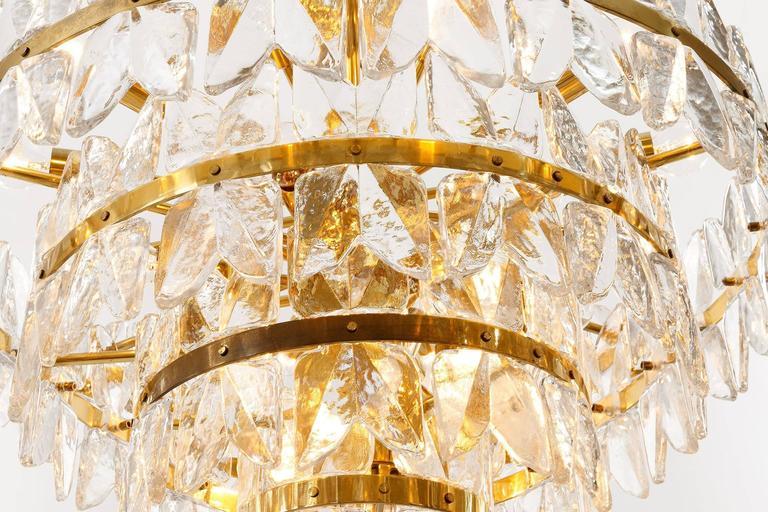 Large Kalmar Chandelier Pendant Light, Brass and Glass, Corina Model, 1970 For Sale 3
