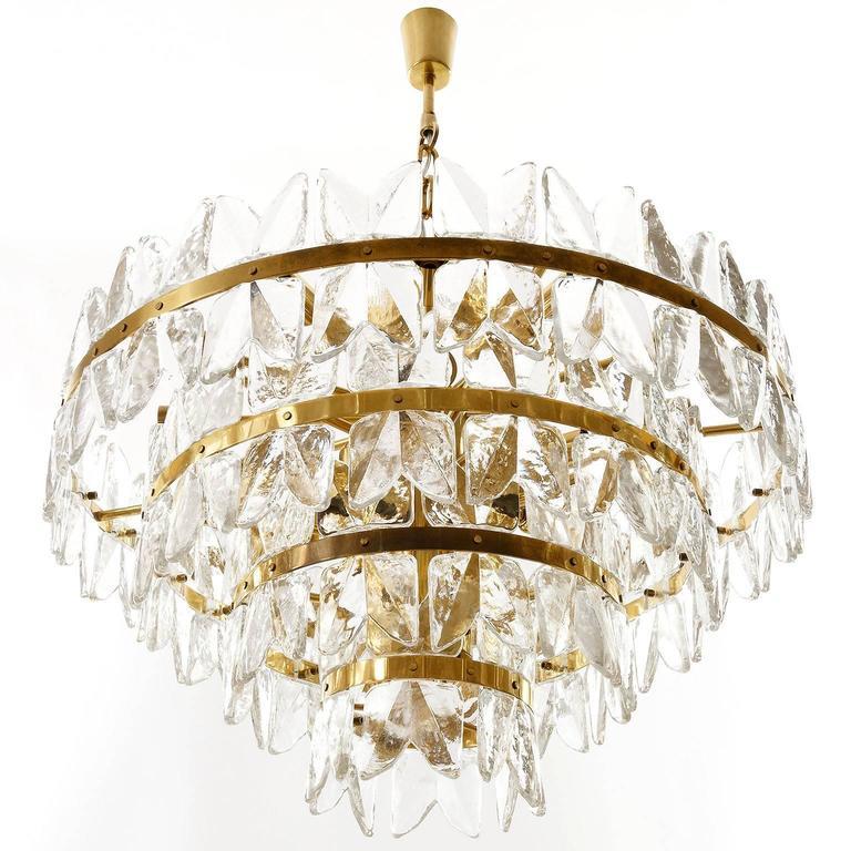 Hollywood Regency Large Kalmar Chandelier Pendant Light, Brass and Glass, Corina Model, 1970 For Sale