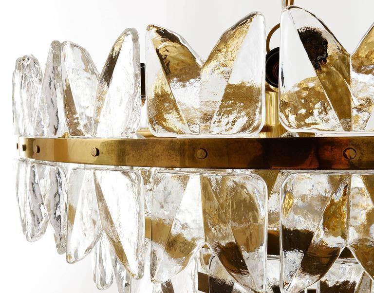 Large Kalmar Chandelier Pendant Light, Brass and Glass, Corina Model, 1970 10