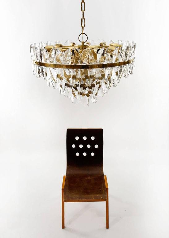 Large Kalmar Chandelier Pendant Light, Brass and Glass, Corina Model, 1970 6