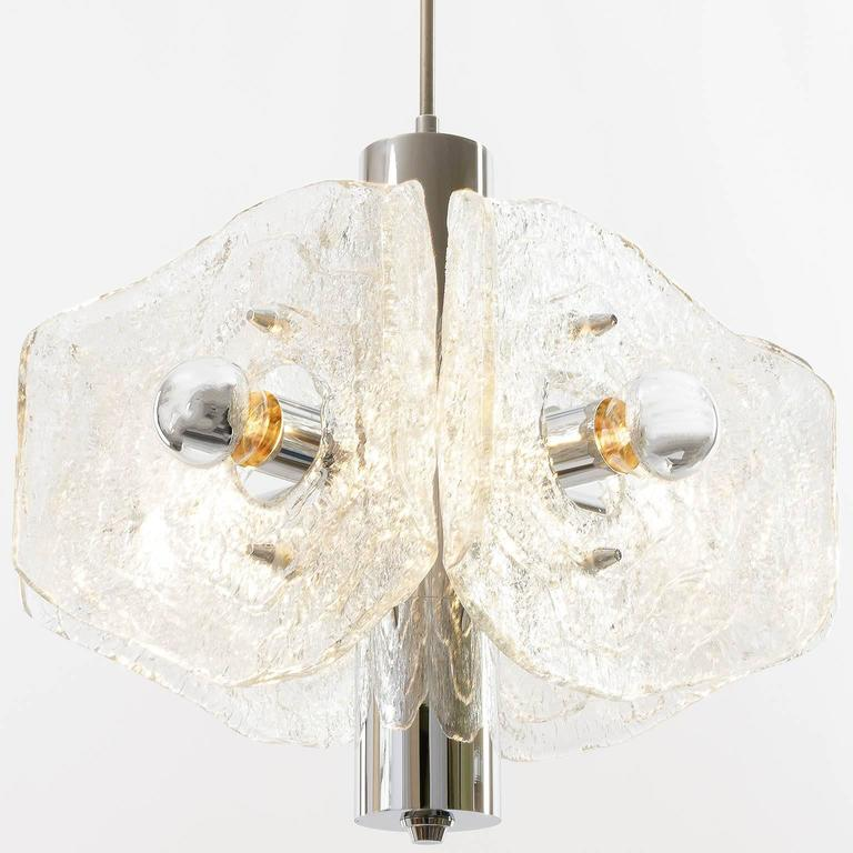 Kalmar Chandelier, Chrome and Glass, 1970s In Excellent Condition For Sale In Vienna, AT