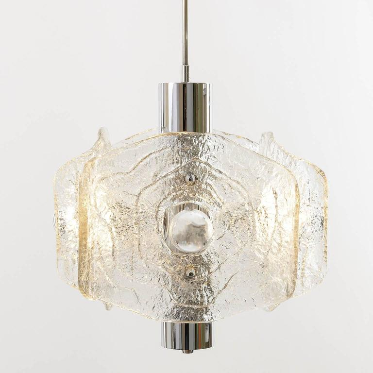 Late 20th Century Kalmar Chandelier, Chrome and Glass, 1970s For Sale