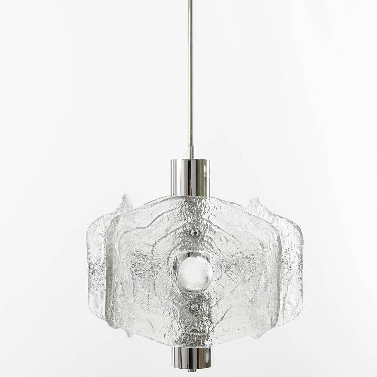 Frosted Kalmar Chandelier, Chrome and Glass, 1970s For Sale