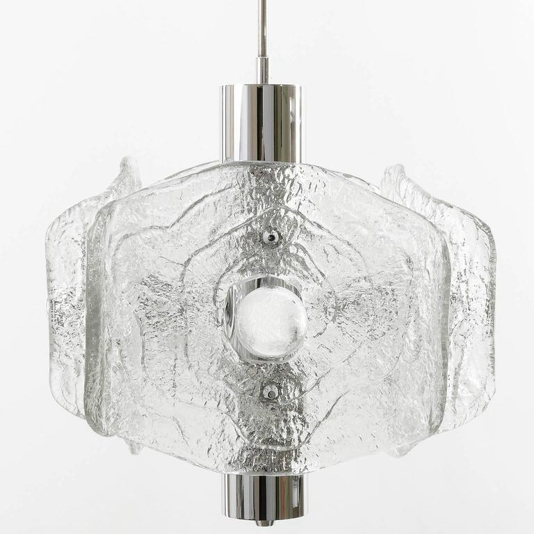 Mid-Century Modern Kalmar Chandelier, Chrome and Glass, 1970s For Sale