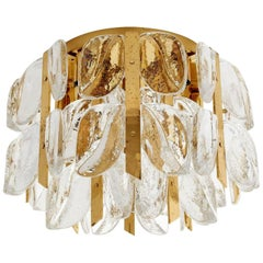 Kalmar Flush Mount Chandelier 'Florida', Glass and Brass, 1960s