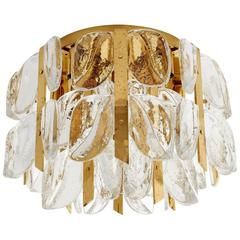 "Kalmar Flush Mount Chandelier ""Florida"", Glass and Brass, 1960s"