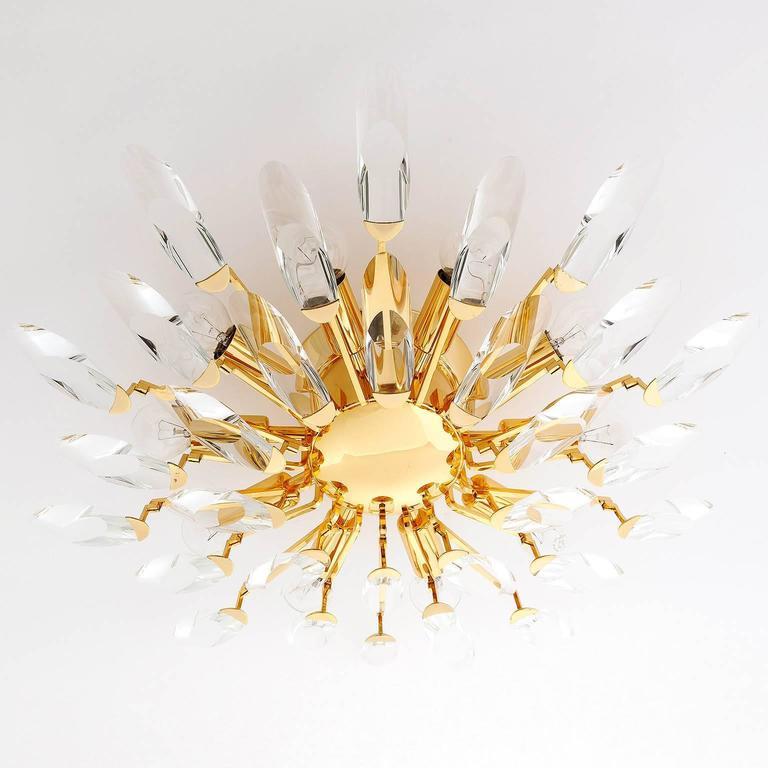italian flush mount light by stilkronen gilt brass crystal glass 1970s 3