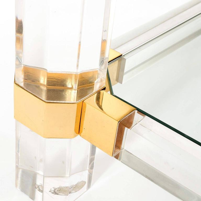 Gilt Coffee or Side Table, Lucite Glass Gold Brass, 1970 For Sale