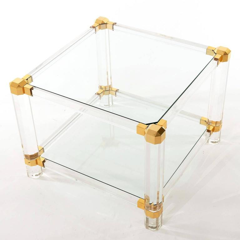 Hollywood Regency Coffee or Side Table, Lucite Glass Gold Brass, 1970 For Sale