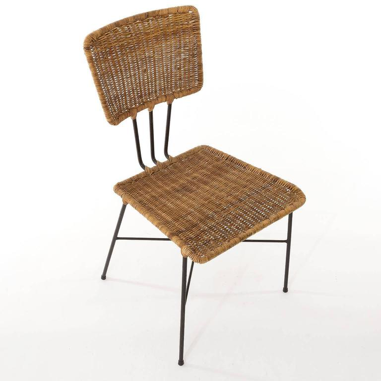 Six Wicker Chairs 1950s For Sale at 1stdibs