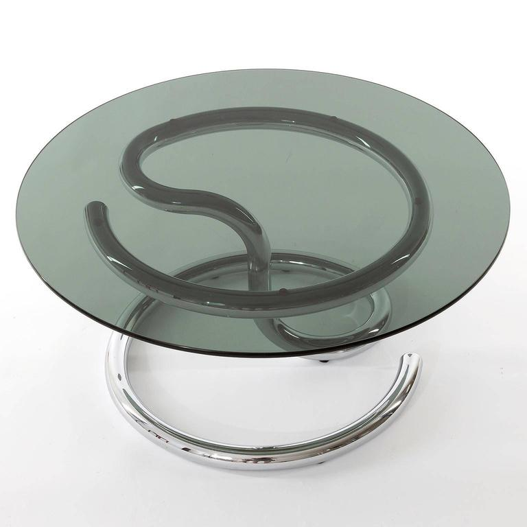 Mid-Century Modern Pair of Anaconda Tables, Chrome Smoke Glass, 1970 For Sale