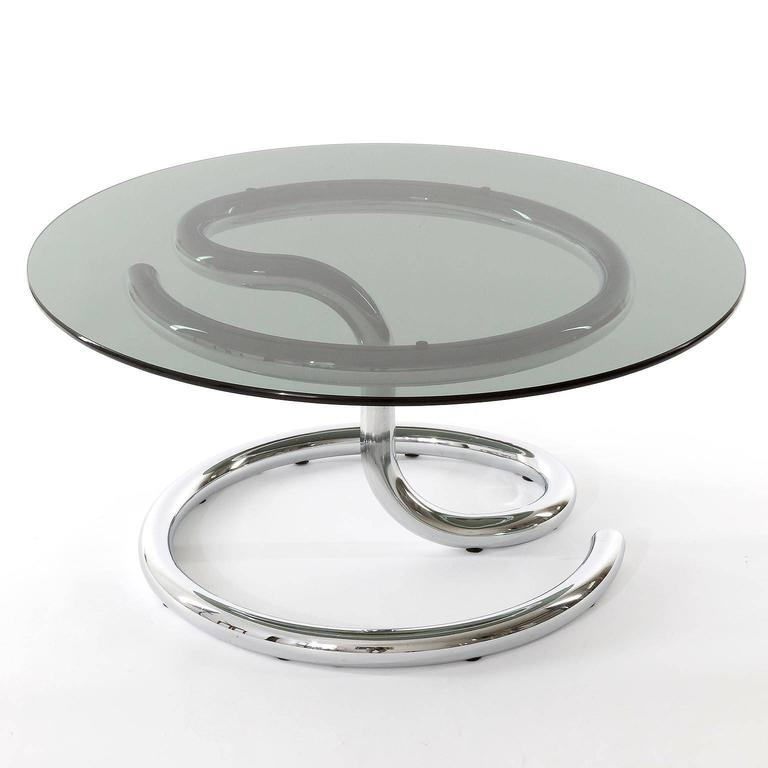 Swiss Pair of Anaconda Tables, Chrome Smoke Glass, 1970 For Sale