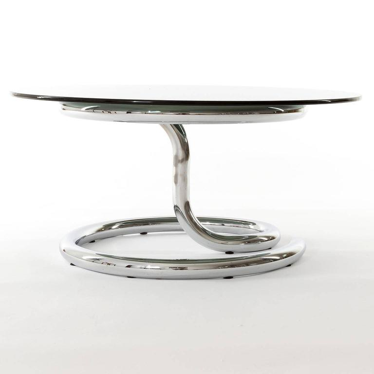 Late 20th Century Pair of Anaconda Tables, Chrome Smoke Glass, 1970 For Sale