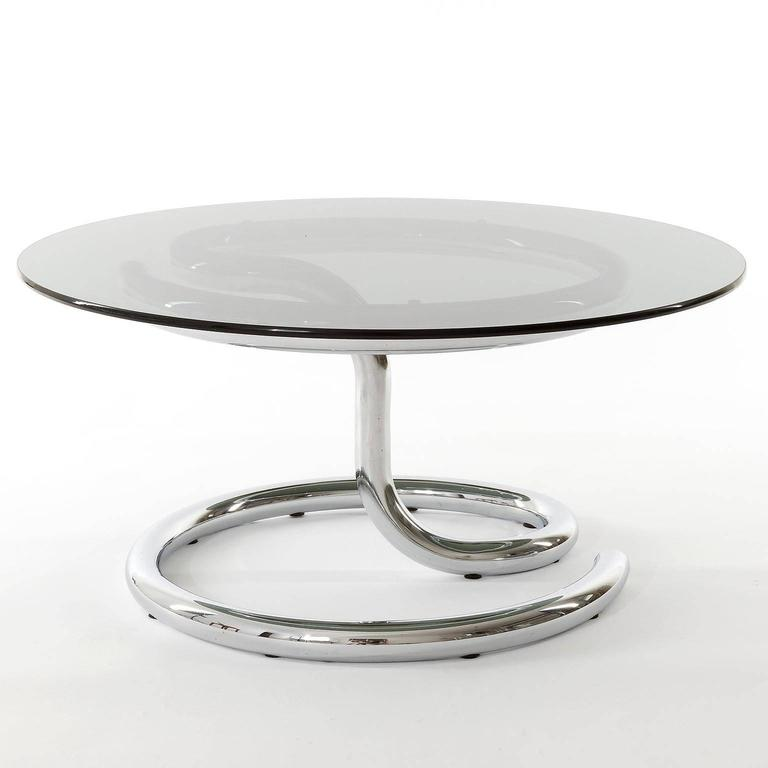 Pair of Anaconda Tables, Chrome Smoke Glass, 1970 In Excellent Condition For Sale In Vienna, AT