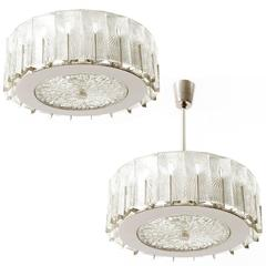 Pair of Chandeliers or Flush Mount Lights by Rupert Nikoll, Glass Nickel, 1950s