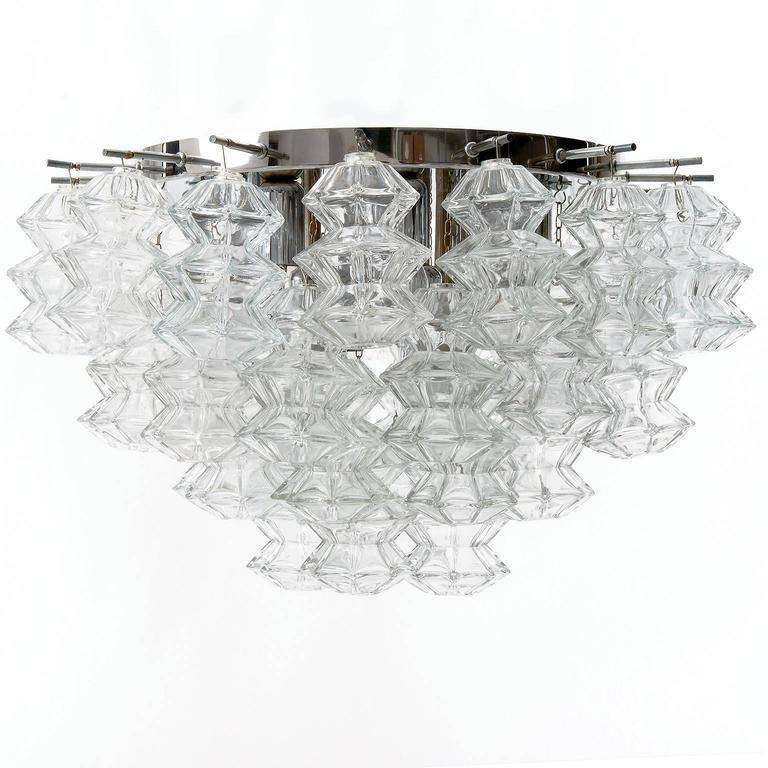 Mid-Century Modern Four Kalmar Flush Mount Lights 'Pagoda', Glass Nickel, 1970 For Sale