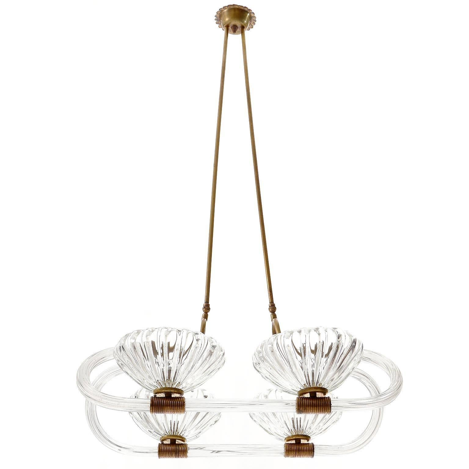 Barovier Chandelier, Glass and Brass, Italy, 1940s
