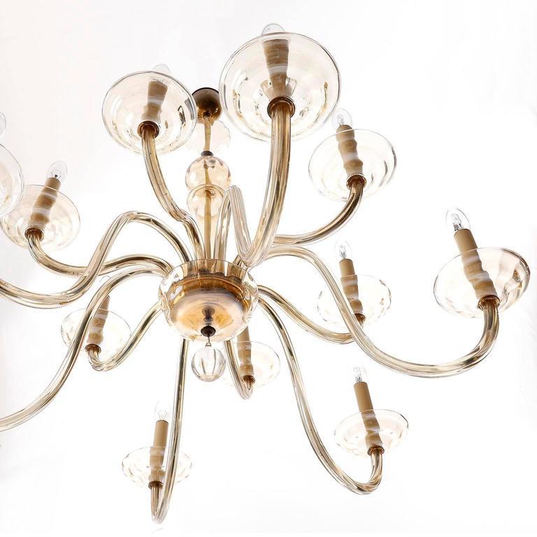 Blown Glass Large Art Deco Chandelier by Lobmeyr, Brass Amber Glass, Austria, 1930 For Sale
