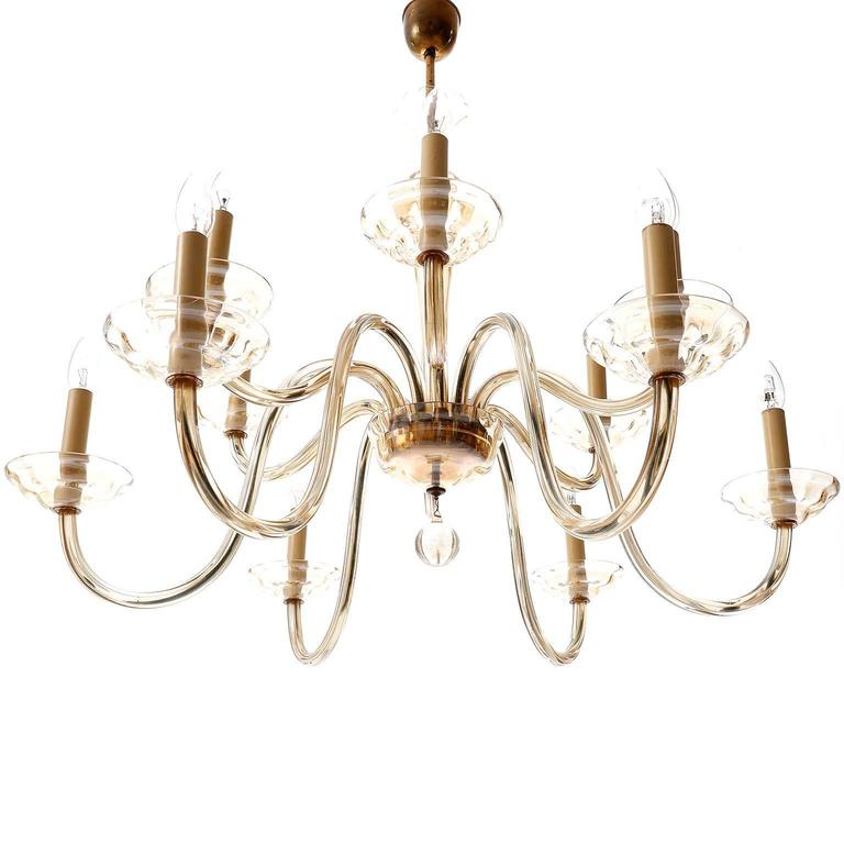 Large Art Deco Chandelier by Lobmeyr, Brass Amber Glass, Austria, 1930 In Excellent Condition For Sale In Vienna, AT
