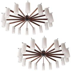Two Huge Flush Mount Light Fixtures, Opal Glass Rosewood Nickel, Austria, 1970