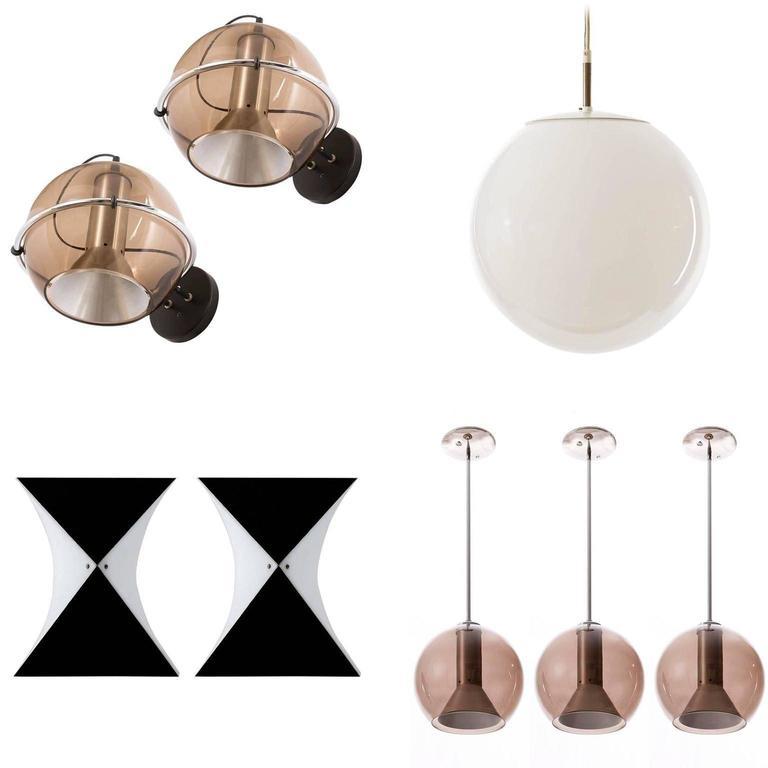 Eight RAAK Wall Lights Sconces, Bubble Glass Globes, 1970s For Sale 1