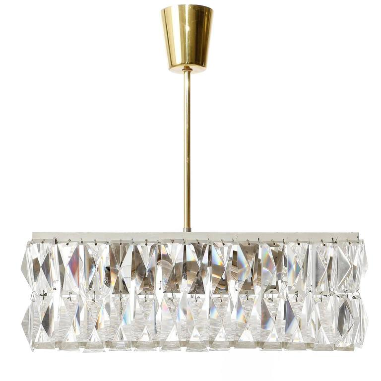 Mid-Century Modern Square Kalmar Light Fixture, Textured and Crystal Glass, 1960s For Sale