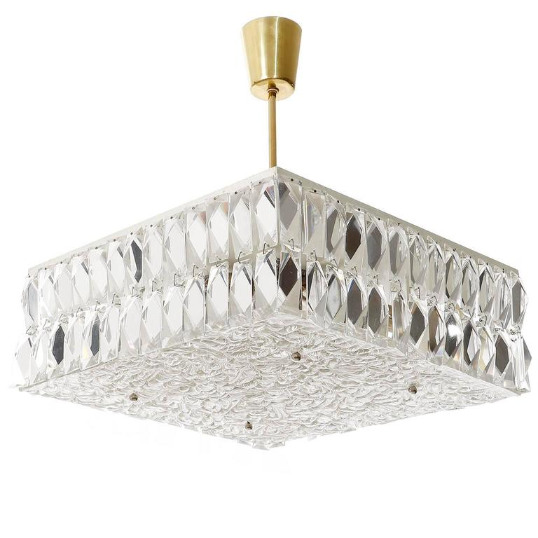 A square ceiling lamp by J.T. Kalmar, Vienna, Austria, manufactured in Mid-Century, circa 1960 (late 1950s or early 1960s). It can be used as flush mount light or with a stem as chandelier. We can provide the light without stem or a stem in brass,