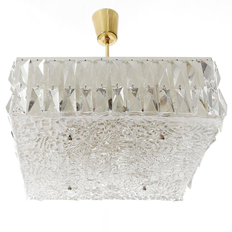 Austrian Square Kalmar Light Fixture, Textured and Crystal Glass, 1960s For Sale