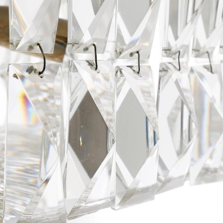 Square Kalmar Light Fixture, Textured and Crystal Glass, 1960s For Sale 2