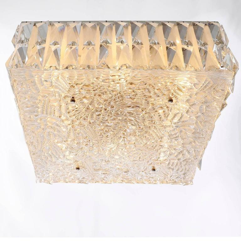 Square Kalmar Light Fixture, Textured and Crystal Glass, 1960s In Excellent Condition For Sale In Vienna, AT